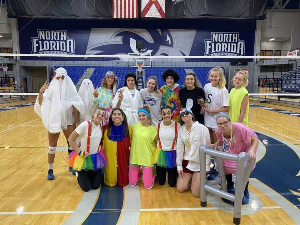 volleyball team in costumes
